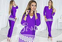 Женский костюм Стильный с кружевом макраме фиолетовый нома и Батал