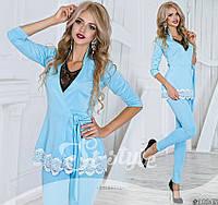 Женский костюм Стильный с кружевом макраме голубой нома и Батал