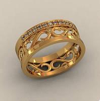 Интересное сдержанное золотое колечко 585* пробы с Фианитами