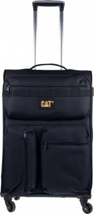 Удобный текстильный 4-х колесный чемодан 54 л. CAT CUBE COMBAT 83351;01 Черный
