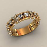Ультра-модное женское золотое кольцо 585* пробы с Фианитами