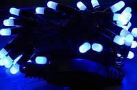 Уличная LED гирлянда,50 больших  СИНИХ диодных ламп 5.5метров,1режим,не мигает,черный провод