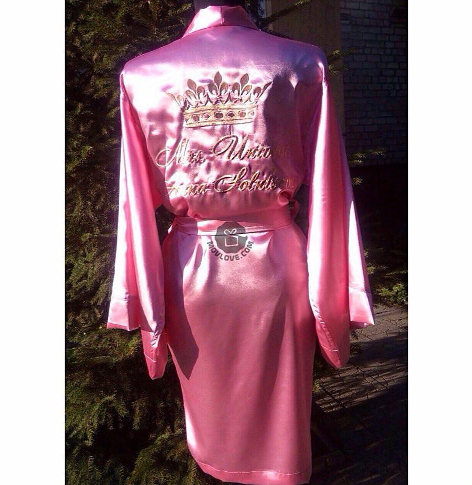 Атласный халат с именной вышивкой 36