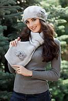 Комплект «Гербера» (берет и шарф) Светло-серый меланж