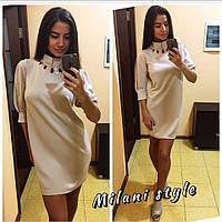 Платье с украшением под горло и рукавом-фонариком мини разные цвета 1SMmil763