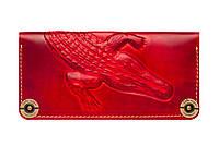 Кожаный кошелек крокодил красного цвета