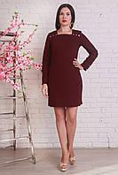 Бордовое платье прямого фасона