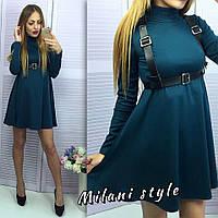 Платье с воротником-гольф свободного кроя мини из плотного трикотажа 4 цвета 1SMmil765