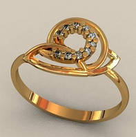 Оригинальное лаконичное золотое кольцо 585* пробы