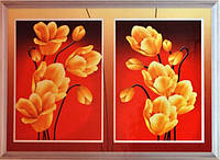 """Картина со стразами 5D """"Диптих. Золотые цветы"""" Размер: 78*51см Код 198431"""