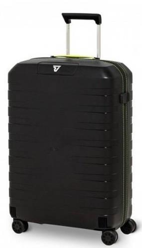 Пластиковый 4-х колесный чемодан-спинер 80 л., Roncato BOX 5512/3701 черный с желтым