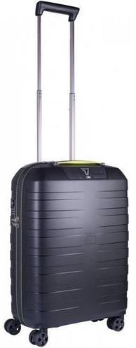 Стильный 4-х колесный пластиковый чемодан  41 л., Roncato BOX 5513/3701 черный с желтым