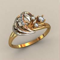 Редкое золотое женское кольцо 585* пробы с Фианитами