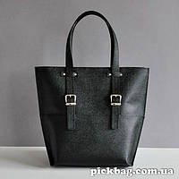 Кожаная сумка JIZUZ SHOPPER BLACK SAFFIANO