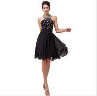 Эксклюзивное шифоновое платье миди расшитое камнями