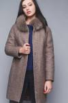 Зимнее прямое пальто с мехом на воротнике размер  ,48Коричневый