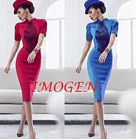 Эксклюзивное платье миди с дорогим ажуром и короткими рукавами