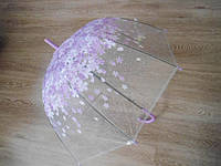 Зонт зонтик прозрачный трость, полуавтомат в мелкий листочек