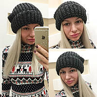 Черная женская вязаная шапка