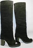 Сапоги осенние женские Cluchini 3735 черные, замша, каблук 10 см