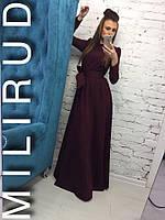 Платье шикарное однотонное с поясом плечики-фонарики в пол бордовый