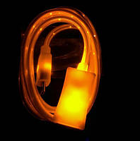 Светящийся кабель USB-Lightning для iphone 5-7 ЖЕЛТЫЙ SKU0000342