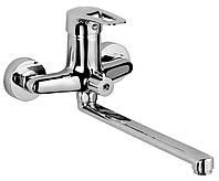 NARCIZ Смеситель для ванны однорычажный, переключатель ванна/душ встроен в корпус, L-излив 350 мм,