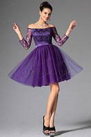 Шикарное короткое платье из гипюра и пышной фатиновой юбкой