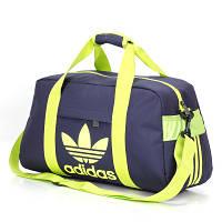 Спортивная сумка Adidas темно-синяя с салатовым логотипом