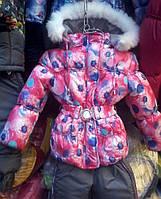Детские теплые комбинезоны с подстежкой-овчинка для девочек 1-5 лет розовый одуванчик