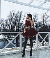 Эксклюзивное пышное короткое платье с фатином и украшением цветы на талии