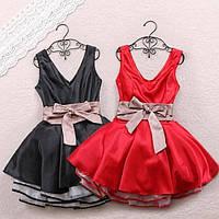 Платье короткое пышное из стрейч-атласа с фатином