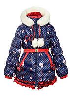 Куртка зимня для девочек р.110,116,122, очень теплая зимняя куртка на овчине с шикарными рюшами