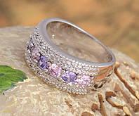 Широкое кольцо с фианитами розовый фиолетовый , р.6