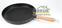 Сковорода чугунная гриль 280х40мм круглая с деревянной ручкой, чугунная посуда Эколит (Украина) 2840