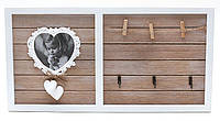 "Ключница-фоторамка с крючками и прищепками ""Сердечко"", дерево. керамика, 24х46 см"