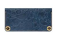 Синий женский кожаный кошелек