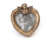 "Фоторамка ""Ангелок, сердце, бронза"", керамика, 20.7х16 см"