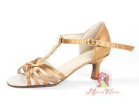 Туфли женская латина Л-3 (коричневый атлас)