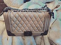 Женская сумка клатч Chanel Le Boy Lux Midi Бежевая