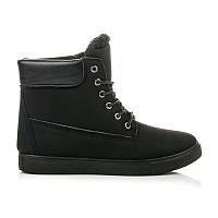 Зимние женские ботинки спортивные черные шнурованные