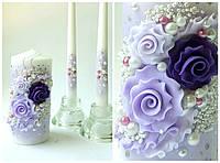 Свадебные свечи в сиренево-фиолетовом цвете