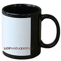 Чашка сублимационная цветная с полем под нанесение Черная