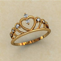 Очаровательное женское золотое колечко 585* пробы с Фианитами в форме короны