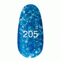 ГЕЛЬ ЛАК № 205 (синий с блестками разных размеров ) 8 МЛ.