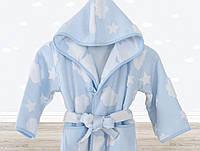 Детский махровый халат  Irya CLOUD 3-4 года   голубой