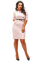 Стрейчевое платье с пуговицами, пояс в комплекте, цвет пудра. Арт-8725/74