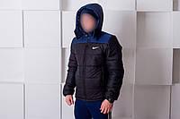 Куртка зимняя, мужская, идеально для зимы, Nike темно-синий + черный