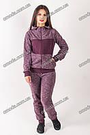 Женский трикотажный спортивный костюм с капюшоном бордового цвета