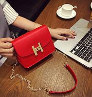 Стильная женская маленькая сумка красного цвета в стиле Hermes